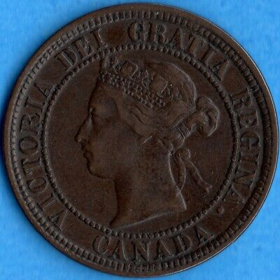 Canada 1881 H 1 Cent One Large Cent Coin - VF/EF