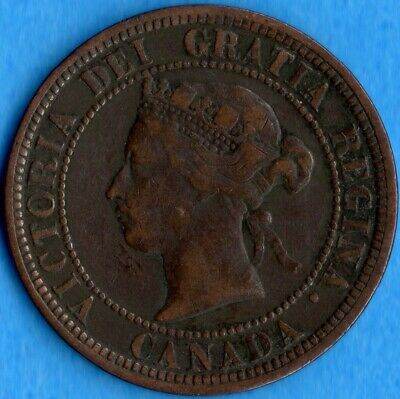 Canada 1881 H 1 Cent One Large Cent Coin - Fine