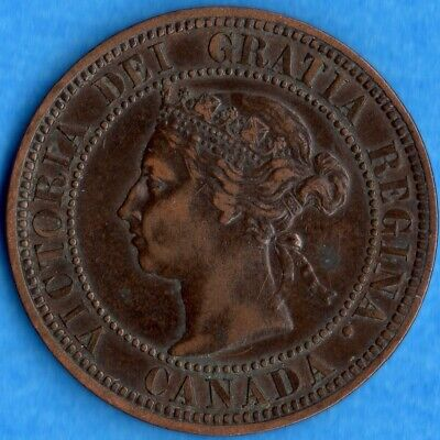 Canada 1882 H 1 Cent One Large Cent Coin - VF/EF (corrosion)