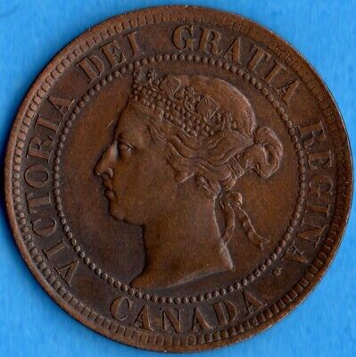 Canada 1887 1 Cent One Large Cent Coin - EF+ (cleaned)
