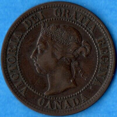 Canada 1891 LD LL 1 Cent One Large Cent Coin - Very Fine