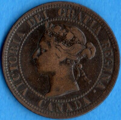 Canada 1891 LD LL 1 Cent One Large Cent Coin - F/VF