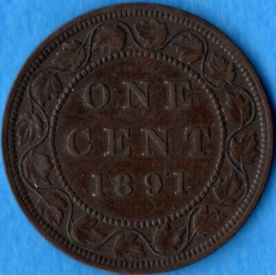 Canada 1891 1 Cent One Large Cent Coin - Very Fine