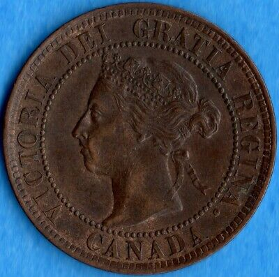 Canada 1892 1 Cent One Large Cent Coin - EF/AU