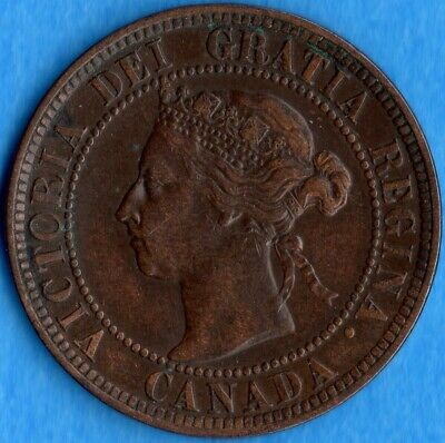 Canada 1897 1 Cent One Large Cent Coin - EF (corrosion)
