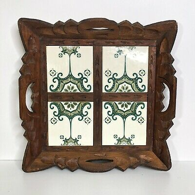 Vintage Handmade Carved Wood And Tile Tray 13.5x13.5 Square Green White HG338