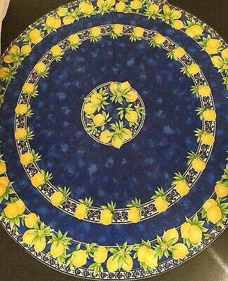 Vintage TABLECLOTH Cotton Yellow Lemons & Leaves Round 68""