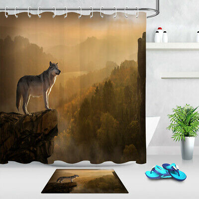 """Wolf Group on Stone In Forest Bathroom Fabric Shower Curtain With Hooks 71/"""""""