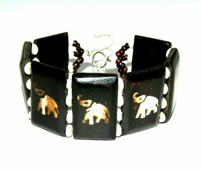 Graceful Fashion Painted Design Bone Bracelets With Chain Antique Jewelry B1270