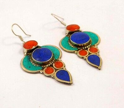 Turquoise , Lapis & Coral .925 Silver Plated Handmade Earring Jewelry JC6555