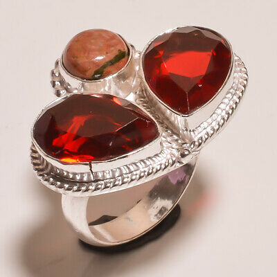 Garnet Quartz .925 Silver Plated Carving Ring Size-7 Jewelry JA784