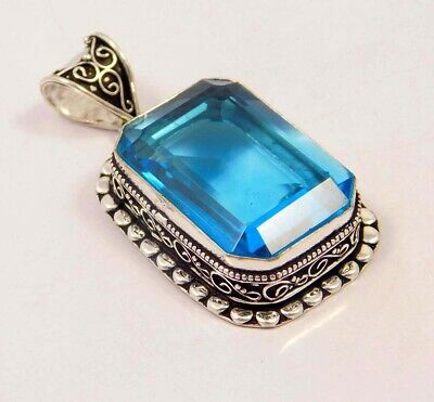Swiss Blue Topaz Quartz .925 Silver Plated Carving Pendant Jewelry JC6692