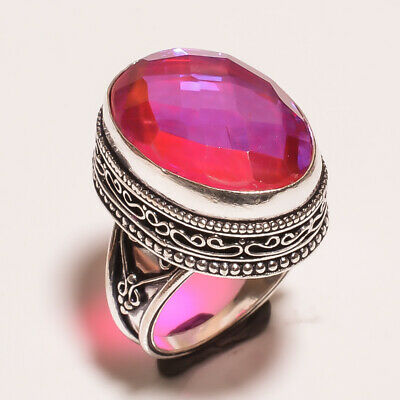 Mystic Topaz Quartz .925 Silver Plated Carving Ring Size-7.75 Jewelry JA644