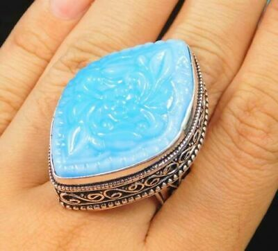 Charming Chalcedony Silver Carving Jewelry Ring Size 9 JC1727