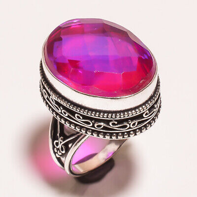 Mystic Topaz Quartz .925 Silver Plated Carving Ring Size-7.50 Jewelry JA653