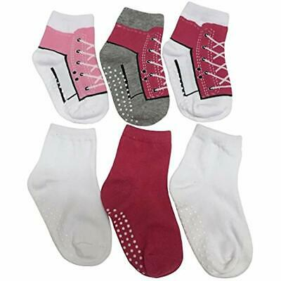 N'Ice Casual & Dress Socks Caps Girls And Baby Cotton/Spandex Crew Gripper - 6