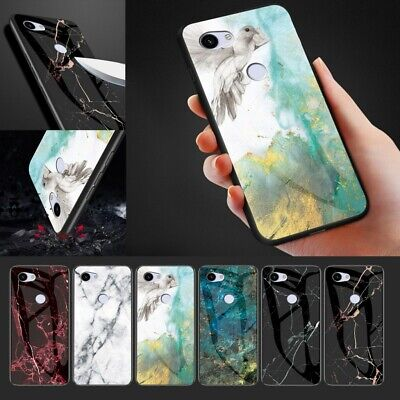 Fr Google Pixel 3/3A XL 4XL Marble Tempered Glass Back TPU Shockproof Case Cover