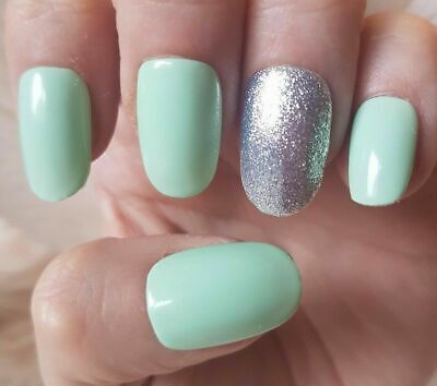 20 Hand Painted False Nails. Mint Green Glitter Accent Nail. Pick Shape.