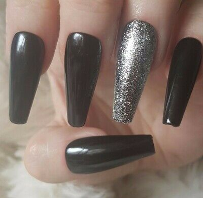 20 Hand Painted False Nails. Black Glitter Accent Nail. Pick Shape.