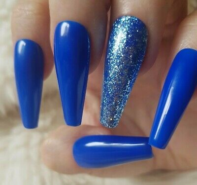20 Hand Painted False Nails. Royal Blue Glitter Accent Nail. Pick Shape.
