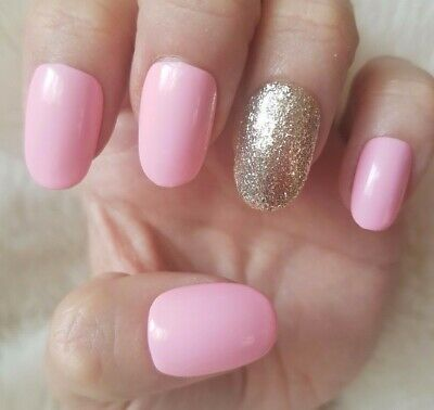 20 Hand Painted False Nails. Light Pink Glitter Accent Nail. Pick Shape.