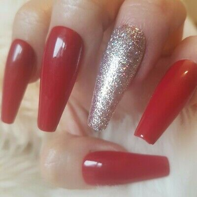 20 Hand Painted False Nails. Wine Red Glitter Accent Nail. Pick Shape.