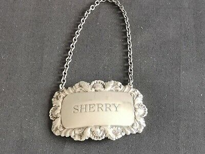 Silver Sherry Decanter Label Bottle Ticket Shell & Foliage London HM TOP QUALITY
