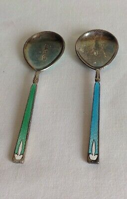 Vintage Art Deco W&H Chester Hallmarked Silver & Guilloche Enamel Pair of Spoons