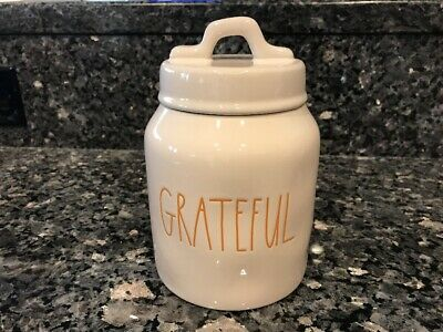 """NEW Rae Dunn """"GRATEFUL"""" Canister Orange Large Letters Thanksgiving Baby Size"""