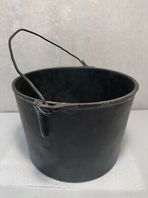 "Large Antique Cast Iron Gypsy Cauldron Flat Bottom Pot Kettle 6 3/4"" T x 9 3/4"""