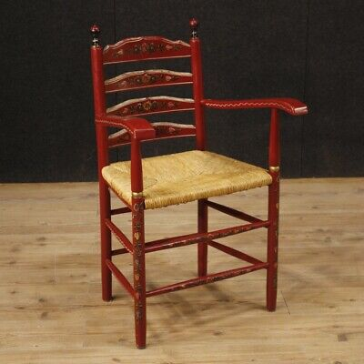 Armchair Chairs Furniture Wooden Painting Red Antique Style Living Room Dutch