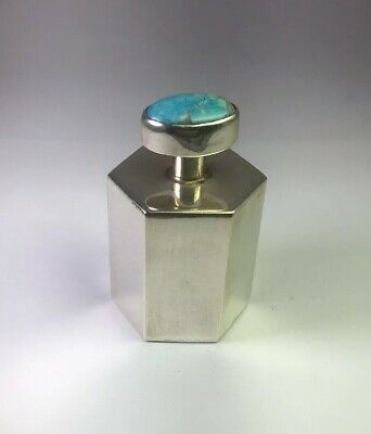 Vintage Sterling Silver Genuine Turquoise Top Hexagon Perfume Bottle M99