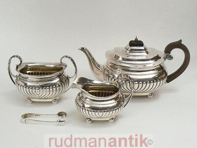 Teeservice Queen Anne Stil Sterling Silber 925 Edward Barnard London 1898