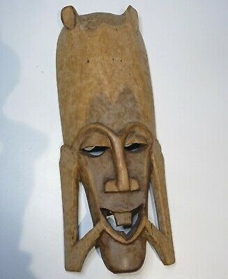 Large Antique Hand Carved Wooden African Tribal Mask, Old,, wood