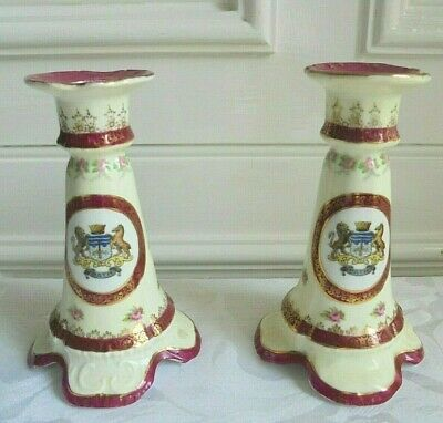 "Rare Vintage Empire Pair of Crested Ware ""BATH"" Crest Porcelain Candlesticks"