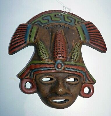 Large Copy of Ancient Aztec/Mayan Mask, Pottery Wall Hanging