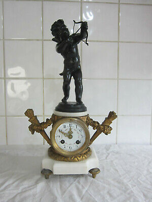Stunning French Marble Chiming Clock with Eros/Cupid Figure -Circa 1880