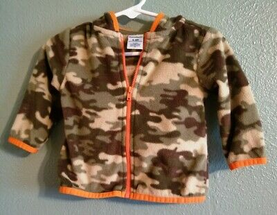 GARANIMALS Boys Size 6-9 Months Green/Tan/Orange Camouflage Hoodie ~ Very Nice!