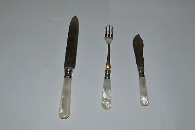 Various Vintage Mother Of Pearl Handle Silver Plate  Cutlery Pickle Forks Butter