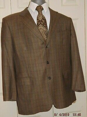 Brooks Brothers Madison Brown Plaid Mens pre-owned 3 Button SportsCoat Size 43R