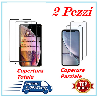 2 Pellicola Vetro Temperato per IPHONE X/XS/XR/XS MAX 3D 5D APPLE Full Cover
