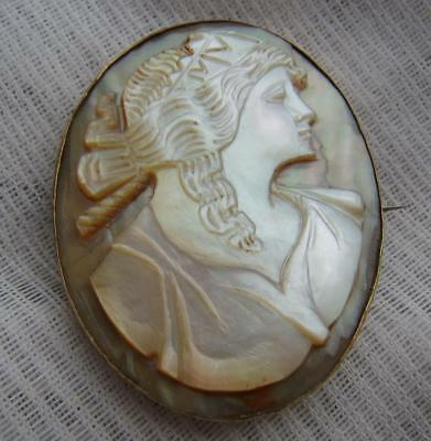 Late Victorian Hand Carved Mother of Pearl Goddess Flora Cameo in Gilded Brooch