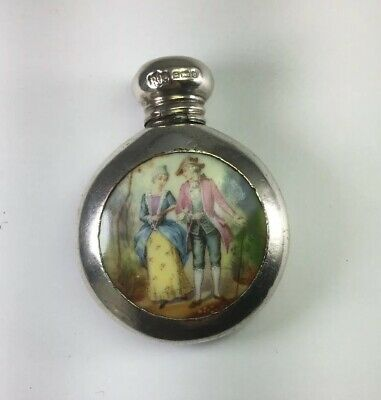 Antique Victorian 1904 Sterling Silver & Painted Porcelain Perfume Bottle M57