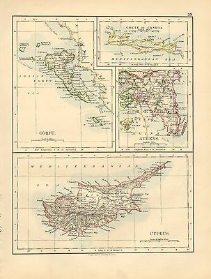 1892 Victorian Map ~ Cyprus Corfu Athens Crete Candia Insets
