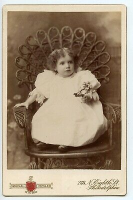 Little Girl Holding Flowers Philadelphia Prop Chair Fashion Dress Cabinet Card