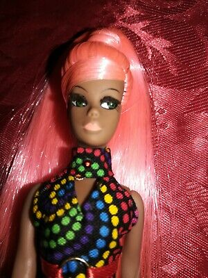 OOAK Dawn Pippa Doll GREEN CAT-EYE DALE Pink Ponytail in MOD OOAK Dotty Pant Set