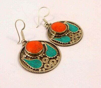 Turquoise & Coral .925 Silver Plated Handmade Earring Jewelry JC6603