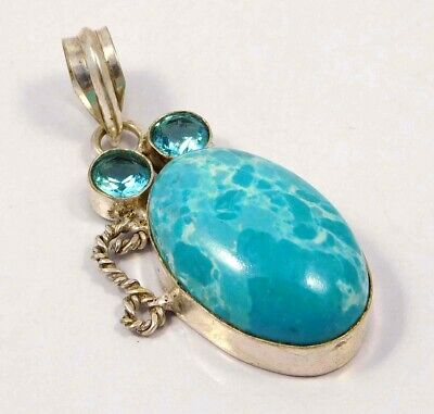 Heated Larimar .925 Silver Plated Handmade Pendant Jewelry JC4622