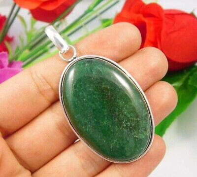 Green Moss Agate .925 Silver Plated Handmade Pendant Jewelry JC3697