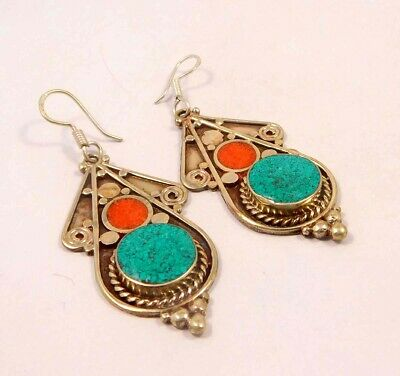 Turquoise & Coral .925 Silver Plated Handmade Earring Jewelry JC6587